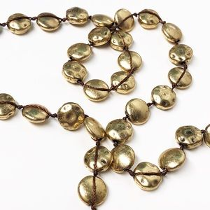 Lucky Brand • Gold Pebble Long Strung Necklace